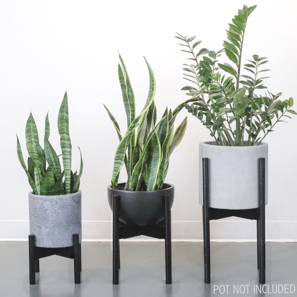 modern mid century wooden plant stand